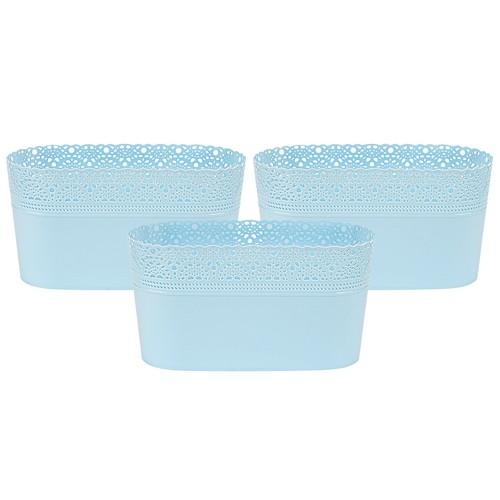 Asz Dantel Desenli Oval Saksı Mavi 3 lü Set