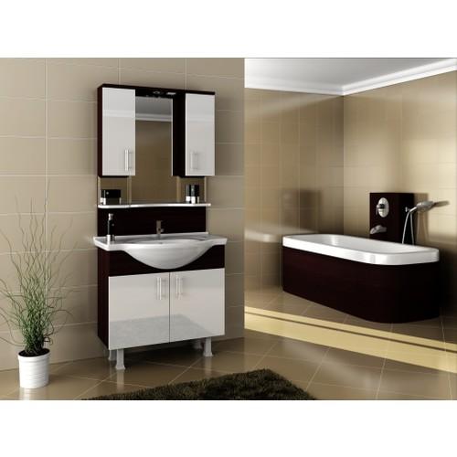 Bestline Auraline Meissa 86 Banyo Dolabı - Beyaz Siyah