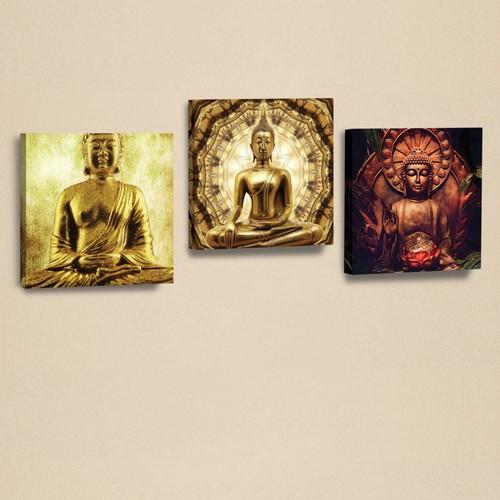 Dekorjinal 3'Lü Kanvas Tablo Seti Buda -3 -D-Ahm129