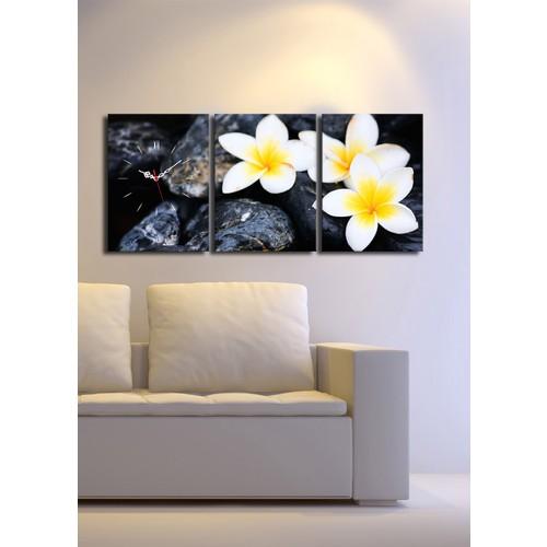 3 Parça Kanvas Saat - Taşta Çiçekler