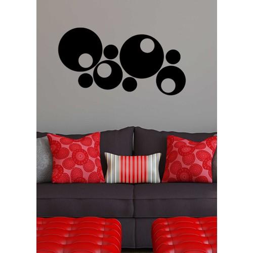 Siyah Desen Yuvarlak Dekoratif Akrilik