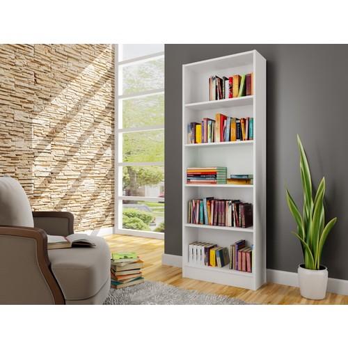 Sardunya Beş Raflı Kitaplık - Beyaz