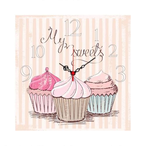Pembe Cupcake Kare Mdf Saat