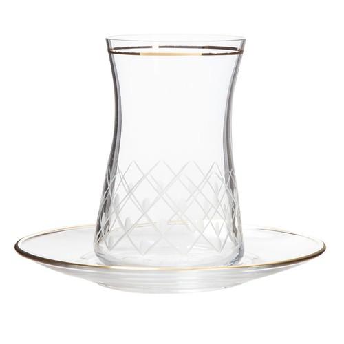 Laliano Pino Altın Çay Takımı (6 Çay Bardağı + 6 Çay Tabağı )