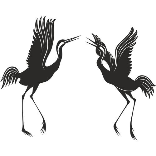 Dekorjinal Duvar Sticker Siyah Leylekler - St86