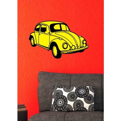 Dekoratif Kırılmaz Ayna Sarı Araba