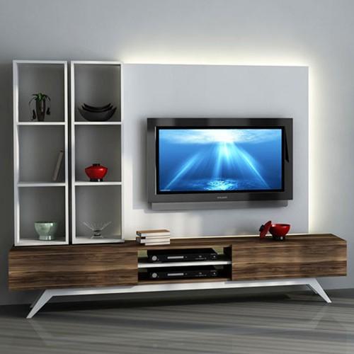 Sanal Mobilya Hayal Tv Ünitesi 12655 -Leon Ceviz-Parlak Beyaz