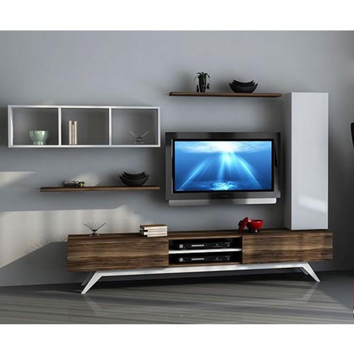 Sanal Mobilya Hayal Tv Ünitesi 12358 - Leon Ceviz - Parlak Beyaz