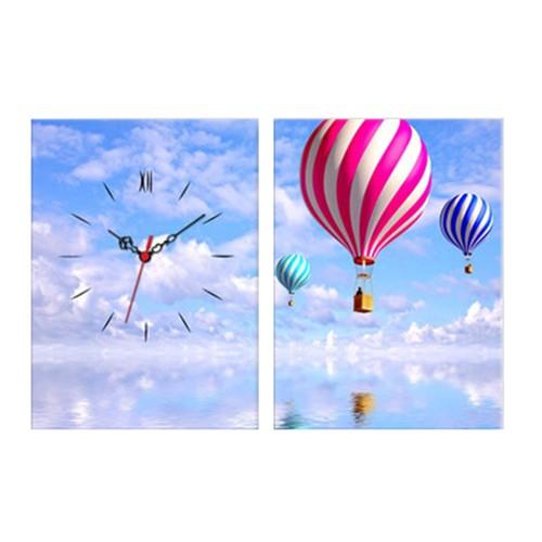 2 Parça Kanvas Saat Uçan Balonlar