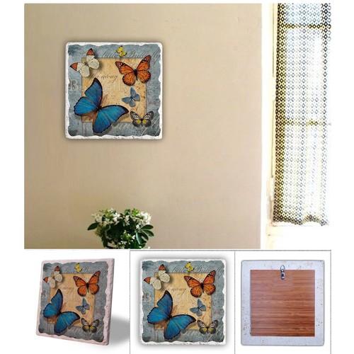 Oscar Stone Renkli Kelebekler Doğal Taş Tablo - 20X20 Cm