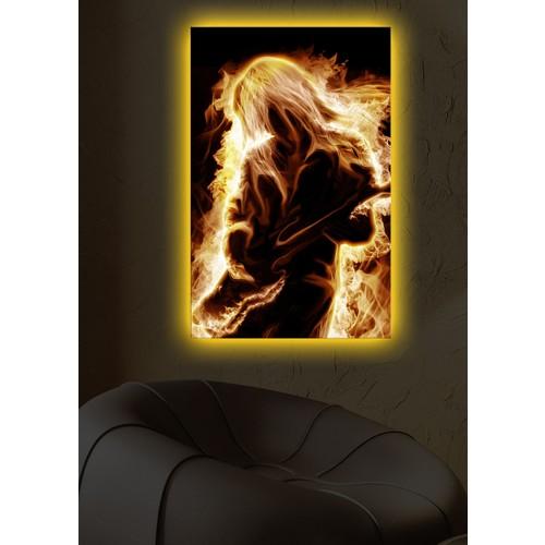 Ateşli Gitarist Arkadan Aydınlatmalı Kanvas Tablo - 45X70 Cm
