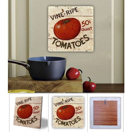 Oscar Stone Tomatoes Doğal Taş Tablo - 20X20 Cm