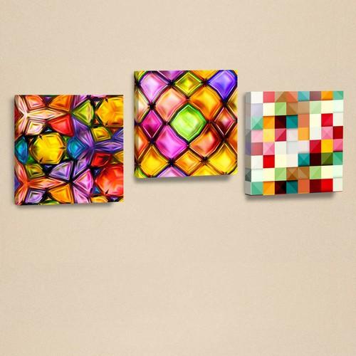 Dekorjinal 3'Lü Kanvas Tablo Seti Geometrik Şekiller -D-Ahm016