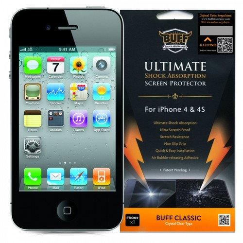 Buff Apple iPhone 4 - 4S Darbe Emici Ekran Koruyucu Film