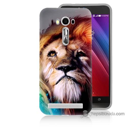 Bordo Asus Zenfone 2 Laser 5.5 Kapak Kılıf Karizma Aslan Baskılı Silikon