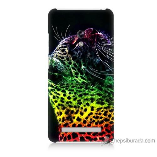 Bordo Asus Zenfone 5 Kapak Kılıf Renkli Leopar Baskılı Silikon