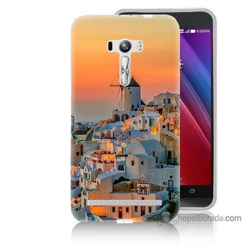 Bordo Asus Zenfone Selfie Kapak Kılıf Manzara Yunanistan Baskılı Silikon