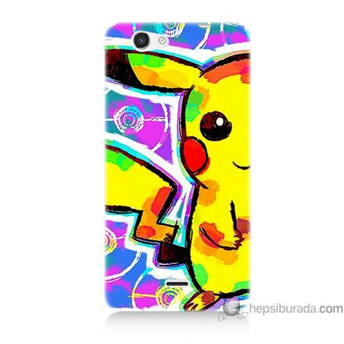 Bordo Casper Via V8c Kapak Kılıf Sevimli Pikachu Baskılı Silikon