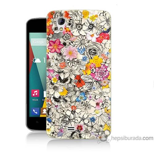 Bordo General Mobile Discovery 2 Mini Kapak Kılıf Renkli Çiçekler Baskılı Silikon