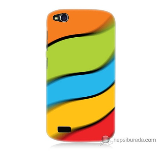 Bordo General Mobile Discovery Kapak Kılıf Renkli Kuşaklar Baskılı Silikon