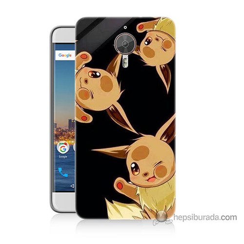 Bordo General Mobile Gm5 Plus Kapak Kılıf Üçlü Pikachu Baskılı Silikon