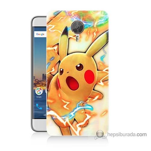 Bordo General Mobile Gm5 Plus Kapak Kılıf Kızgın Pikachu Baskılı Silikon