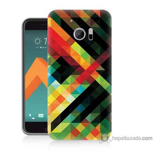 Bordo Htc 10 Kapak Kılıf Renkli Çizgiler Baskılı Silikon