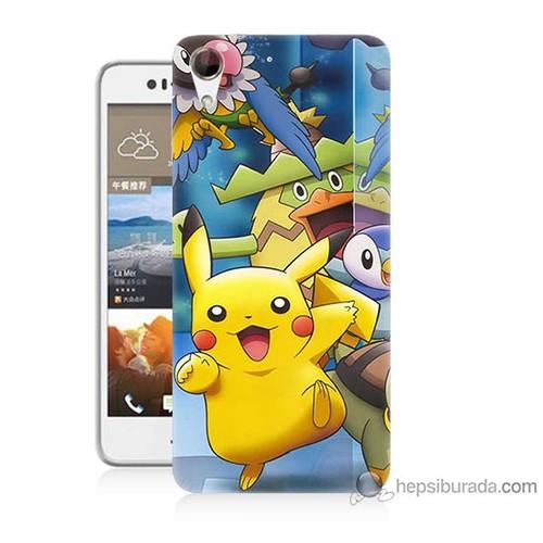 Bordo Htc Desire 728 Kapak Kılıf Pikachu Ve Arkadaşları Baskılı Silikon