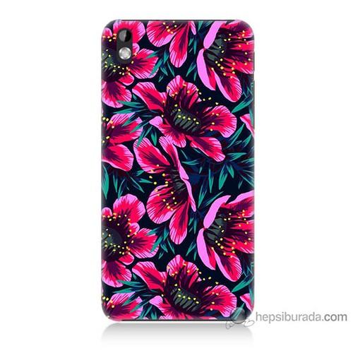 Bordo Htc Desire 816 Kapak Kılıf Pembe Çiçek Baskılı Silikon
