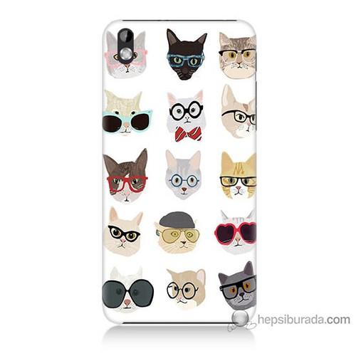 Bordo Htc Desire 816 Kapak Kılıf Gözlüklü Kediler Baskılı Silikon