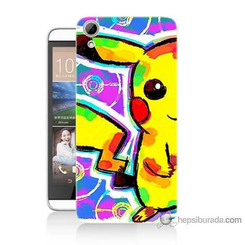 Bordo Htc Desire 826 Kapak Kılıf Sevimli Pikachu Baskılı Silikon