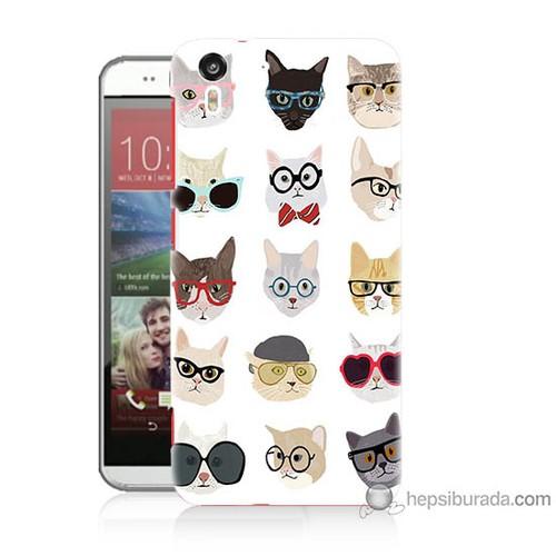 Bordo Htc Desire Eye Kapak Kılıf Gözlüklü Kediler Baskılı Silikon