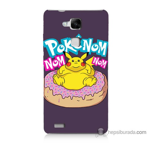Bordo Huawei Mate 7 Kapak Kılıf Obur Pokemon Baskılı Silikon