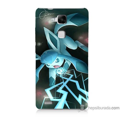 Bordo Huawei Mate 7 Kapak Kılıf Şimşek Pikachu Baskılı Silikon