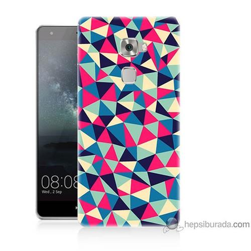 Bordo Huawei Mate S Kapak Kılıf Renkli Üçgenler Baskılı Silikon