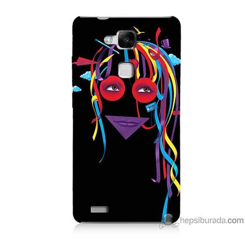 Bordo Huawei Mate 7 Kapak Kılıf Renkli Kız Baskılı Silikon
