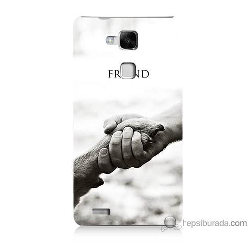 Bordo Huawei Mate 7 Kapak Kılıf Hayat Yolu Baskılı Silikon
