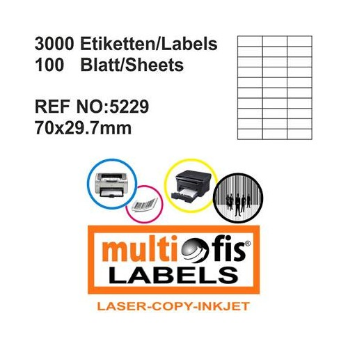 Multiofis 70X29,7 Mm Laser Etiket 5229