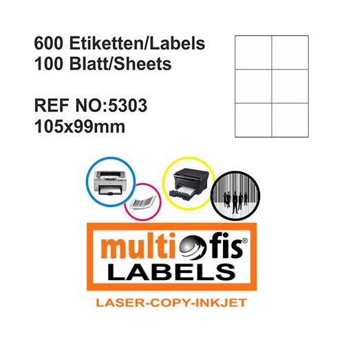 Multiofis 105X99 Mm Laser Etiket 5303
