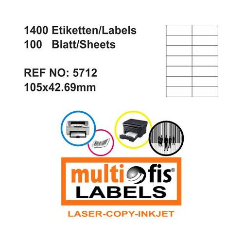 Multiofis 105X42,69 Mm Laser Etiket 5712