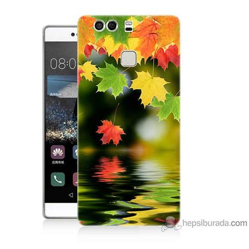 Bordo Huawei P9 Kapak Kılıf Renkli Yaprak Baskılı Silikon