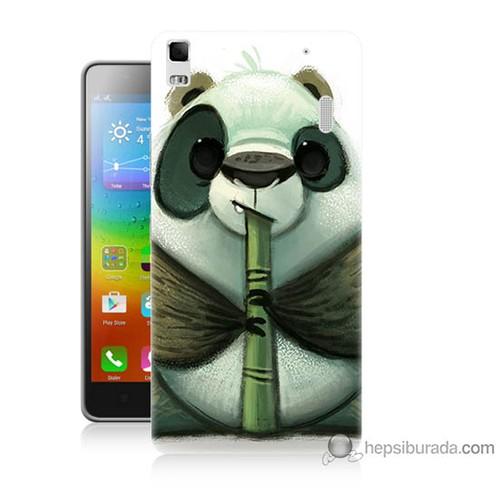 Bordo Lenovo A7000 Kapak Kılıf Flütlü Panda Baskılı Silikon
