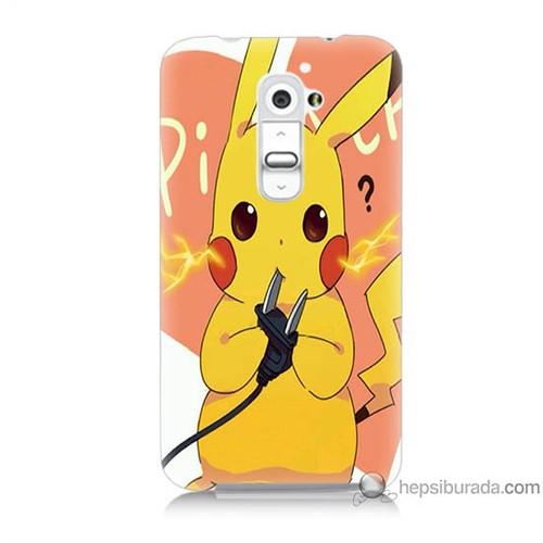 Bordo Lg G2 Kapak Kılıf Düşünen Pikachu Baskılı Silikon