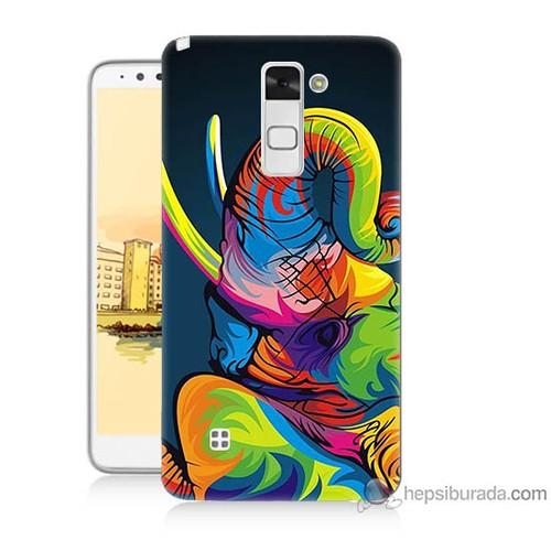 Bordo Lg Stylus 2 Kapak Kılıf Renkli Fil Baskılı Silikon