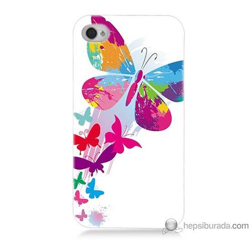 Bordo iPhone 4 Kapak Kılıf Rengarenk Kelebek Baskılı Silikon