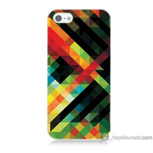 Bordo iPhone 5 Kapak Kılıf Renkli Çizgiler Baskılı Silikon