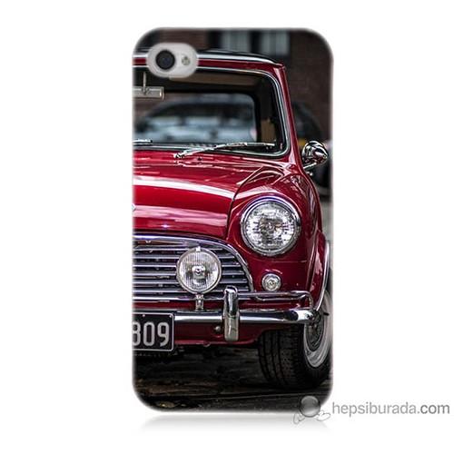 Bordo iPhone 4s Kapak Kılıf Kırmızı Klasik Araba Baskılı Silikon