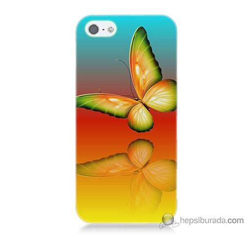 Bordo iPhone 5 Kapak Kılıf Sarı Kelebek Baskılı Silikon
