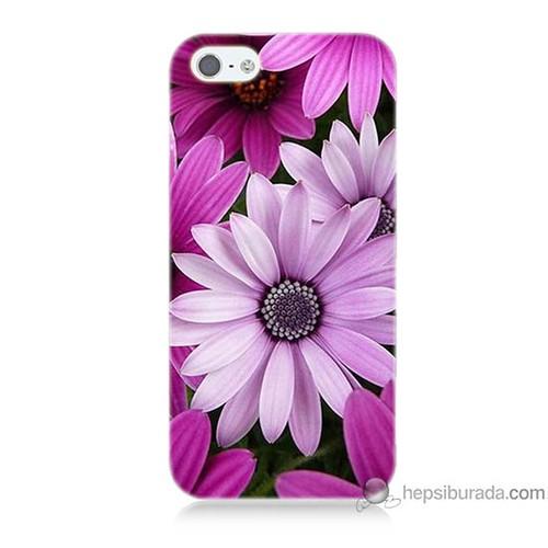 Bordo iPhone 5 Kapak Kılıf Mor Çiçek Baskılı Silikon