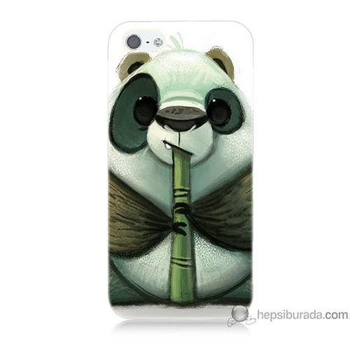 Bordo iPhone 5 Kapak Kılıf Flütlü Panda Baskılı Silikon
